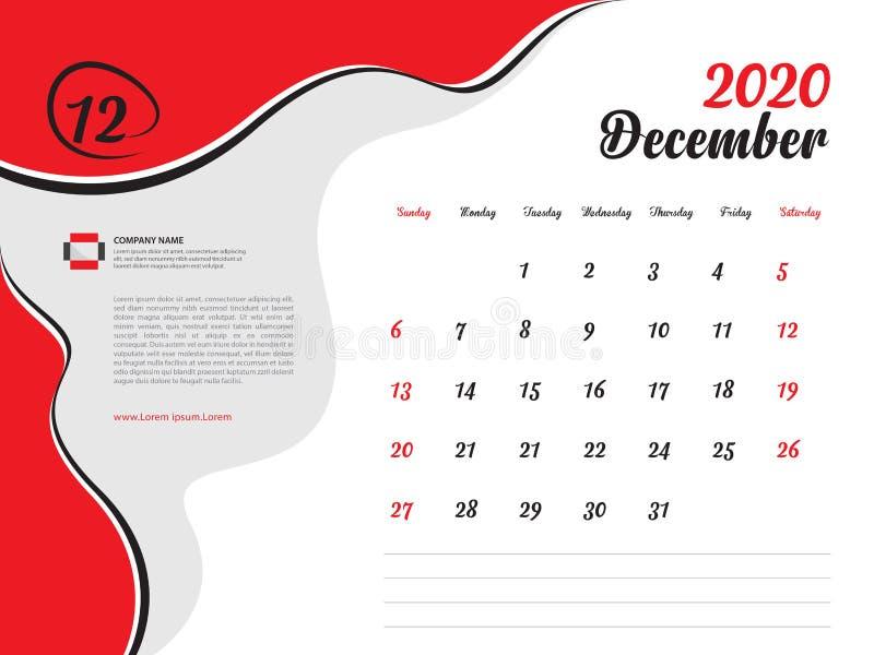 Calendar 2020 design Vector, Desktop Calendar 2020 Template, December, Week Start On Sunday, Planer, Stationery, Printing lizenzfreie abbildung