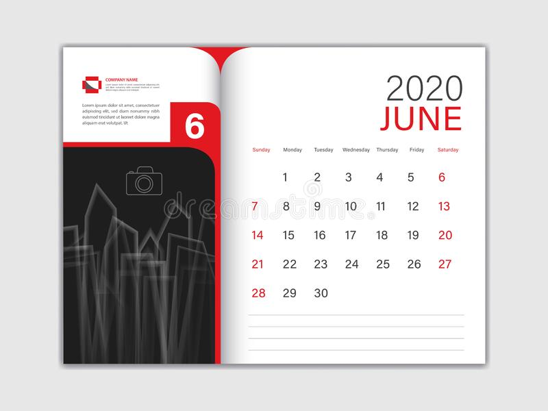 Calendar 2020 design Vector, Desktop Calendar 2020 Template, JUNE, red concept, Week Start On Sunday, Planner, Stationery vektor abbildung