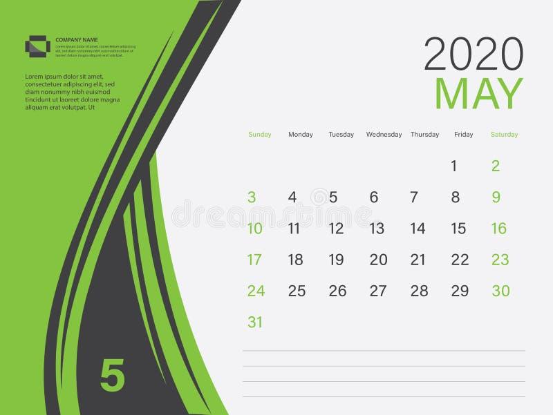 Calendar 2020 design Vector, Desktop Calendar 2020 Template, MAY, Green concept, Week Start On Sunday, Planner, Stationery stock abbildung