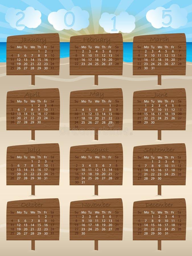 Calendar Number Design : Calendar design with wooden signs stock vector