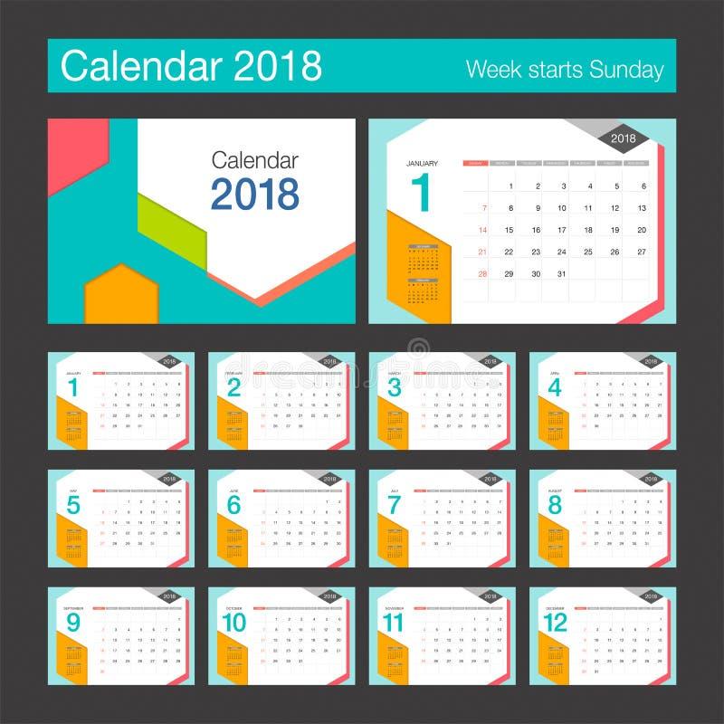 2018 calendar desk calendar modern design template stock vector illustration of colorful. Black Bedroom Furniture Sets. Home Design Ideas