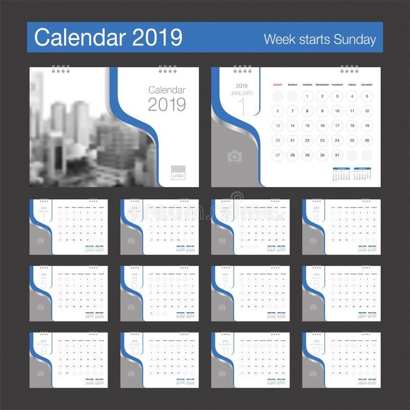 2019 Calendar. Desk Calendar modern design template with place f. Or photo. Week starts Sunday. A5 or A4 paper size. Vector illustration stock illustration
