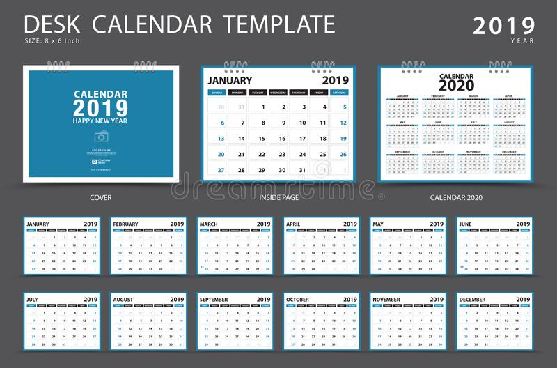 Calendar 2019, Desk calendar template, Set of 12 Months, Planner, Week starts on Sunday, Stationery design, advertisement, Vector. Layout, blue cover design royalty free illustration