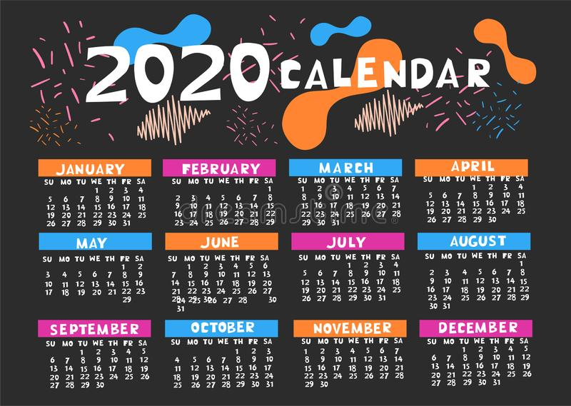 Calendar 2020 in different colors with abstract trendy shapes. Vector graphics royalty free illustration