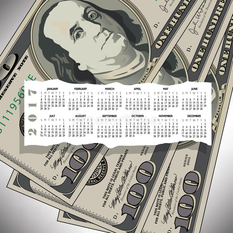 A 2017 calendar with a 100 dollar bill design vector illustration