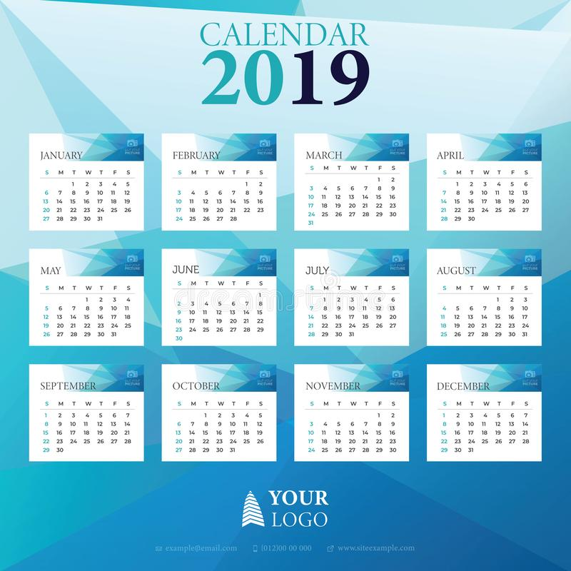 2019 Calendar doodle drawing Vector with week starting on sunday stock illustration