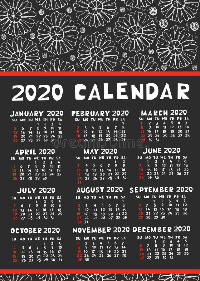 Calendar 2020 with doodle elements red-black-white gamma. Vector graphics stock illustration