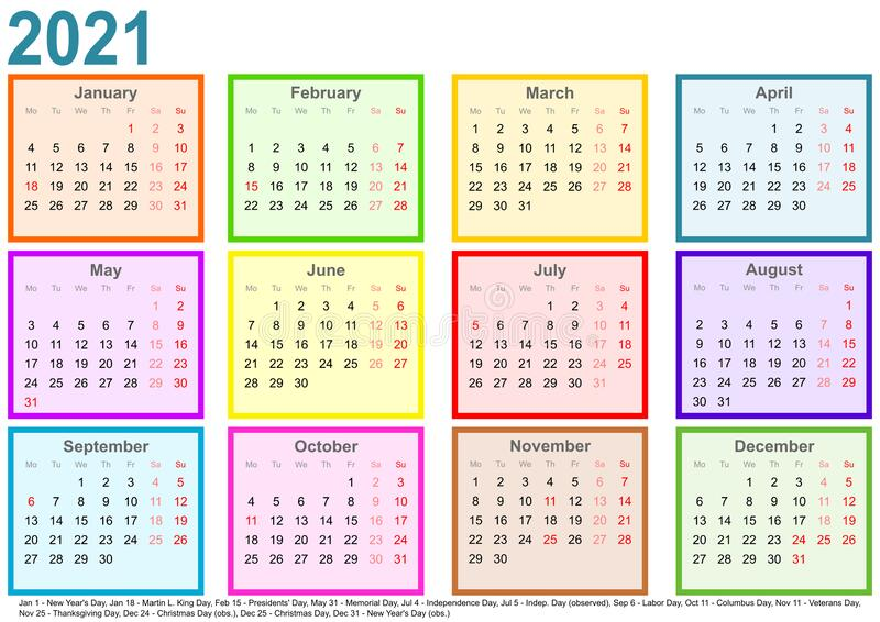 Calendar 2021 Each Month Different Colored Square USA ...