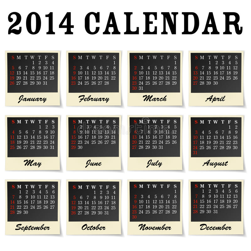 Download 2014 calendar stock vector. Illustration of april, almanac - 32002868