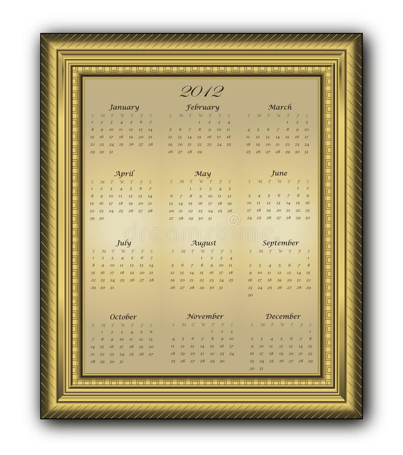 Download Calendar Elegant Frame Gold 2012 Stock Vector - Image: 21503713
