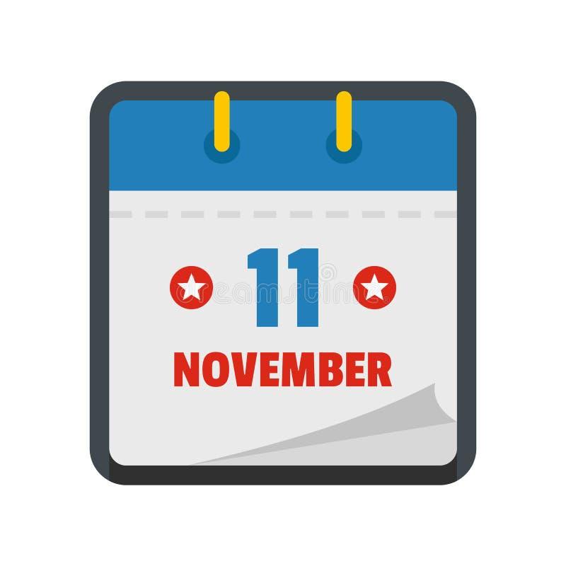 Calendar eleventh november icon, flat style. Calendar eleventh november icon. Flat illustration of calendar eleventh november icon isolated on white background royalty free illustration
