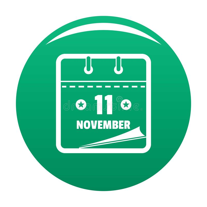 Calendar eleventh november icon vector green. Calendar eleventh november icon. Simple illustration of calendar eleventh november vector icon for any design green royalty free illustration