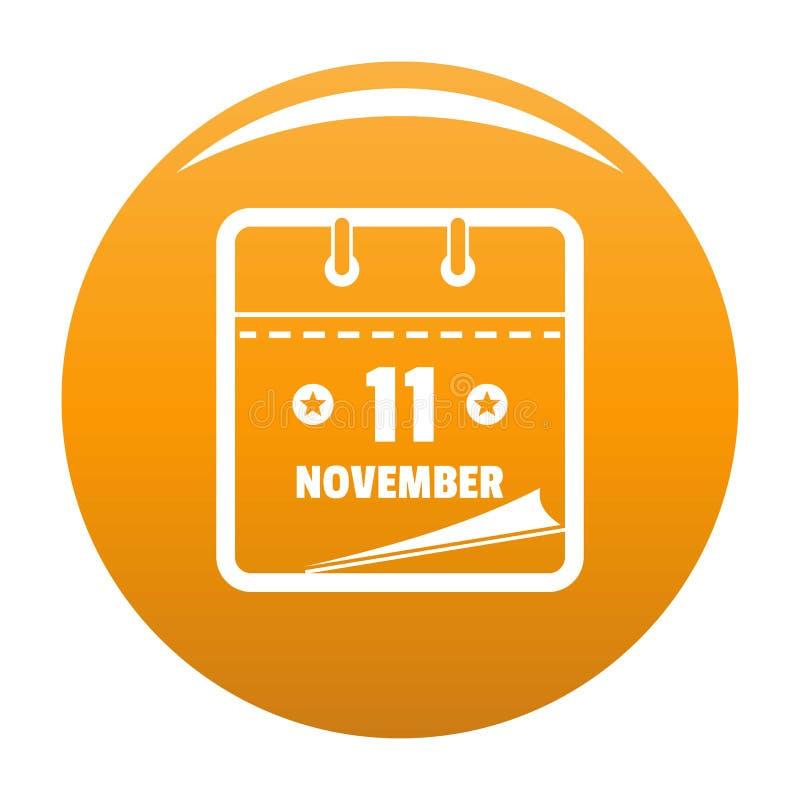 Calendar eleventh november icon vector orange. Calendar eleventh november icon. Simple illustration of calendar eleventh november vector icon for any design stock illustration