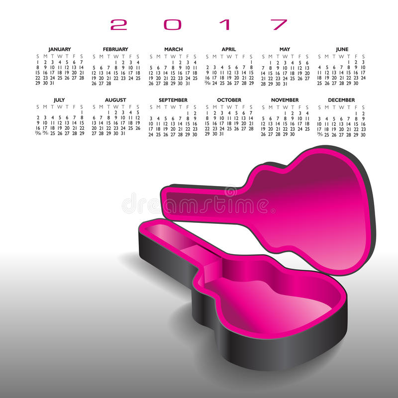 Download A 2017 Calendar With An Empty Guitar Case Stock Vector - Illustration of clean, background: 83719338