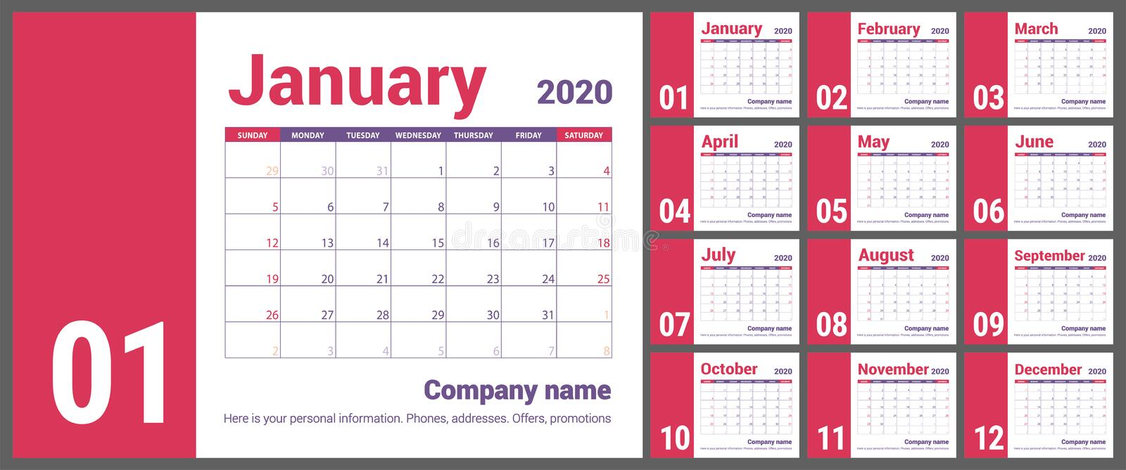 2020 calendar. English calender. Color vector template. Week starts on Sunday. Business planning. New year planner. Design royalty free illustration