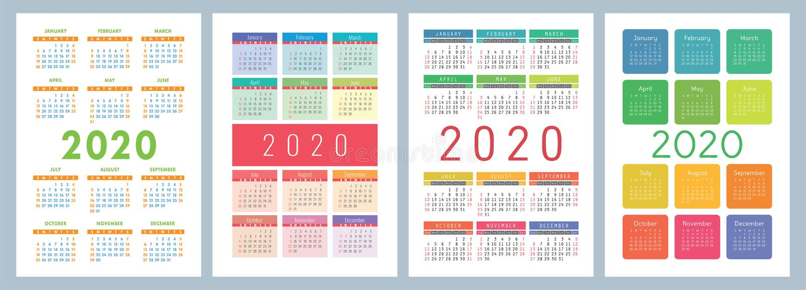 2020 calendar English calender design template colorful vector illustration
