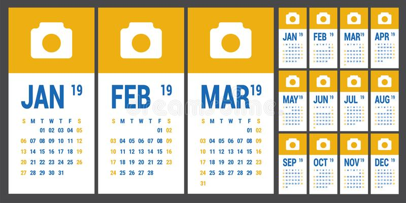 Calendar 2019. English calender template. Vector grid. Office bu royalty free illustration
