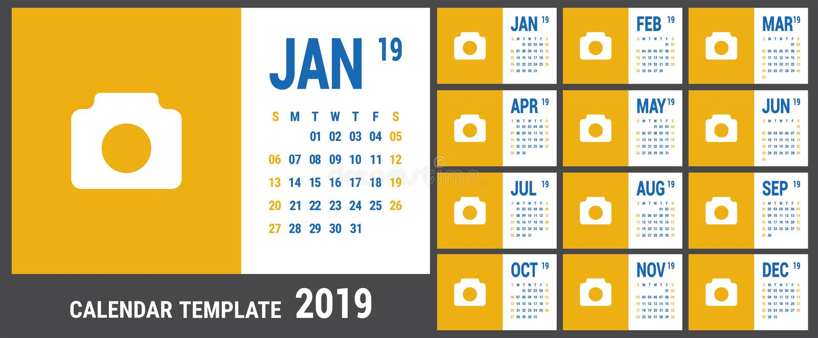 Calendar 2019. English calender template. Vector grid. Office bu vector illustration