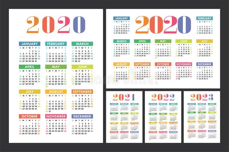 Big Calendar 2022.Calendar 2020 2021 2022 And 2023 English Color Vector Set Kid S Wall Or Pocket Calender Template Colorful Big Design Stock Vector Illustration Of Color Grid 158584858
