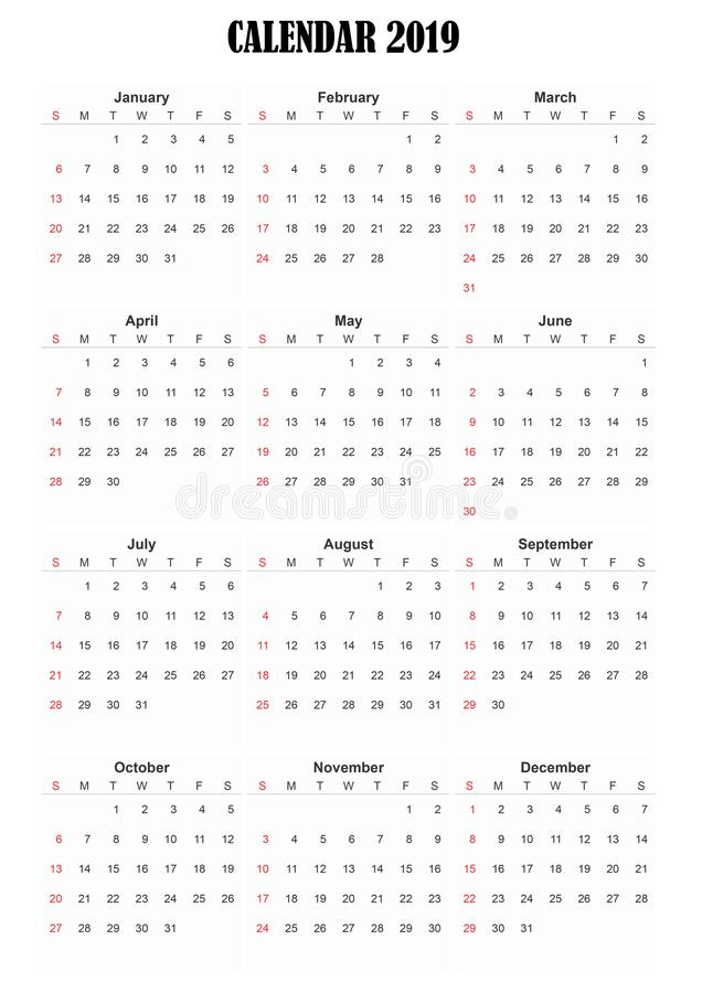 2019 calendar english language stock photos