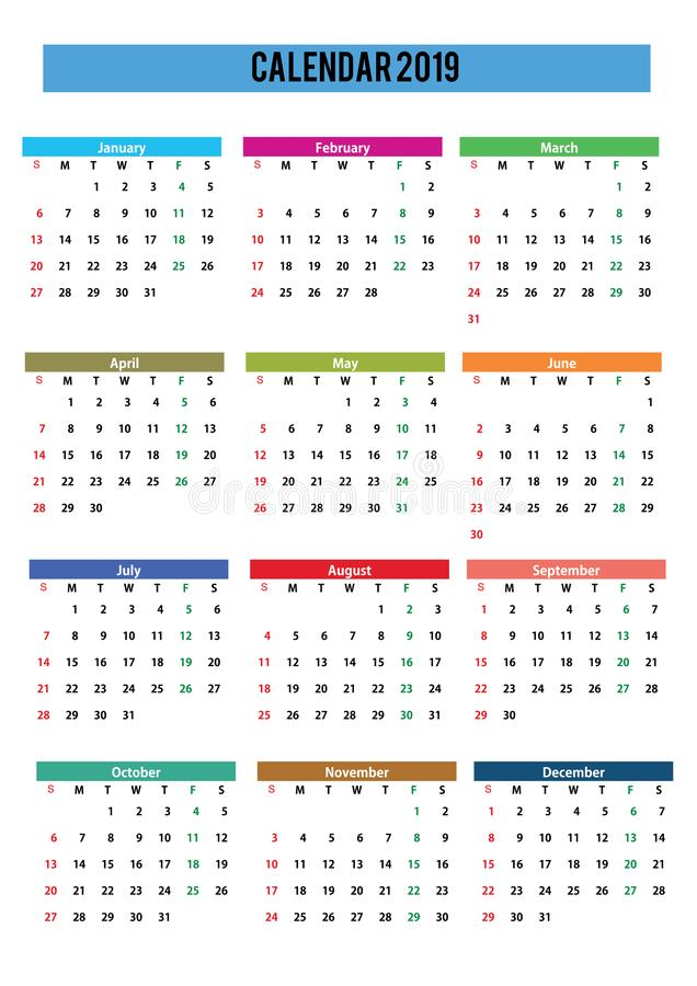 2019 calendar english language royalty free stock image