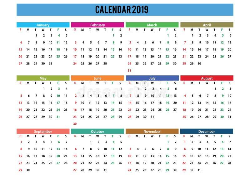 2019 calendar landscape english language royalty free stock photography
