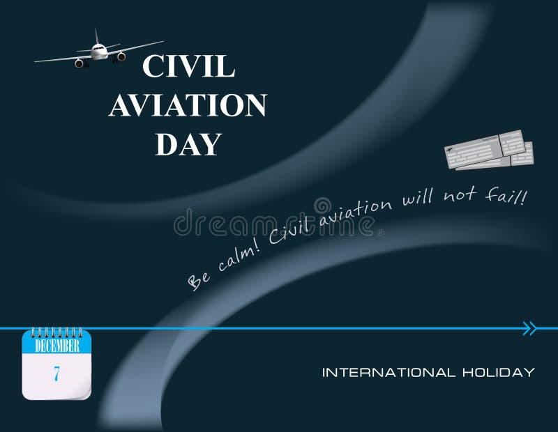 Post Card Civil Aviation Day. Calendar events of December - Congratulations for International Civil Aviation Day vector illustration