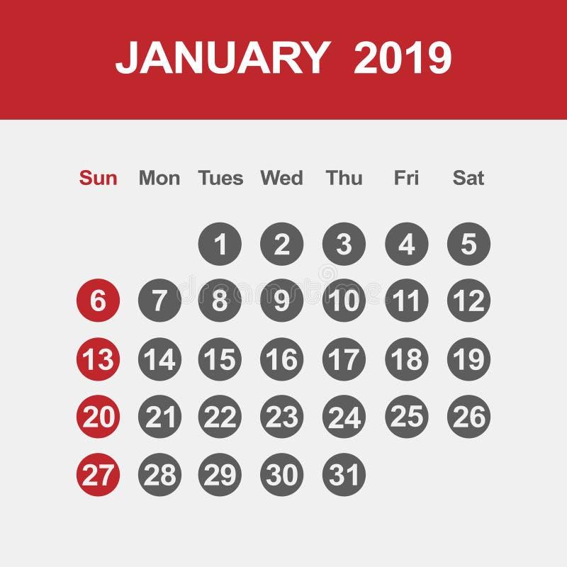Calendar för Januari 2019 stock illustrationer