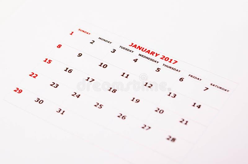Calendar för Januari 2017 arkivfoto