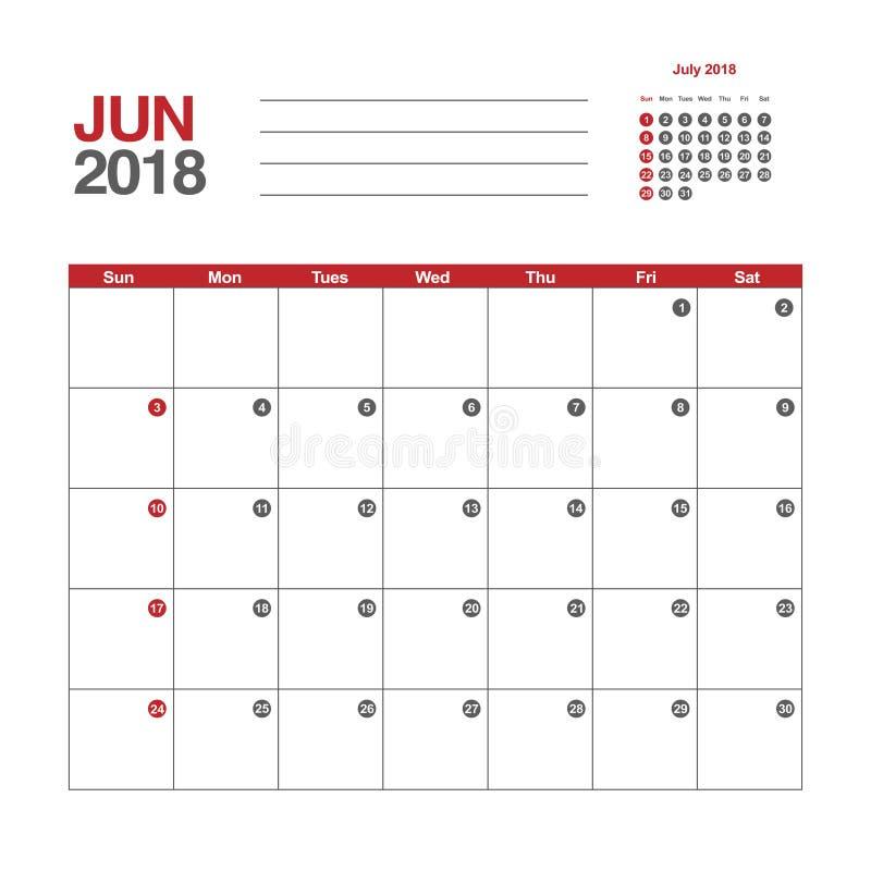 Calendar för Juni 2018 vektor illustrationer