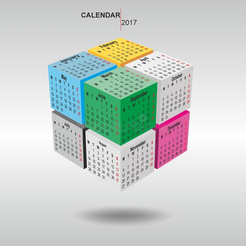 Calendar 2017, faces of a cube royalty free stock image
