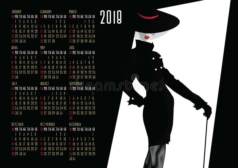 Calendar with fashion girl in style Pop art. American and Canadian calendar with fashion girl in style Pop art vector illustration