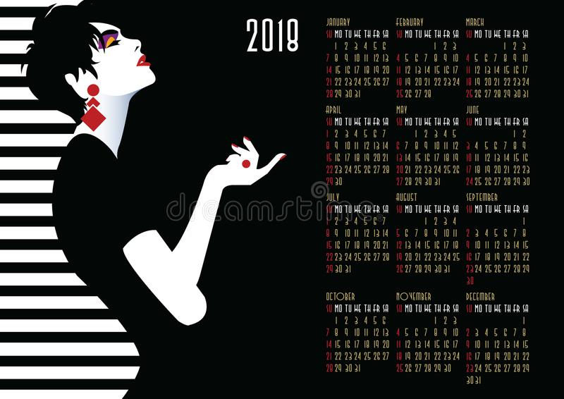 Calendar with fashion girl in style Pop art. American and Canadian calendar with fashion girl in style Pop art royalty free illustration