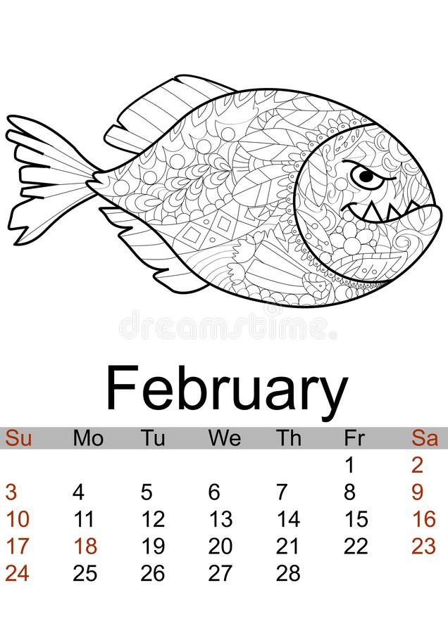 Calendar February month 2019. Antistress coloring red bellied piranha, sea animal, fish. Vector vector illustration