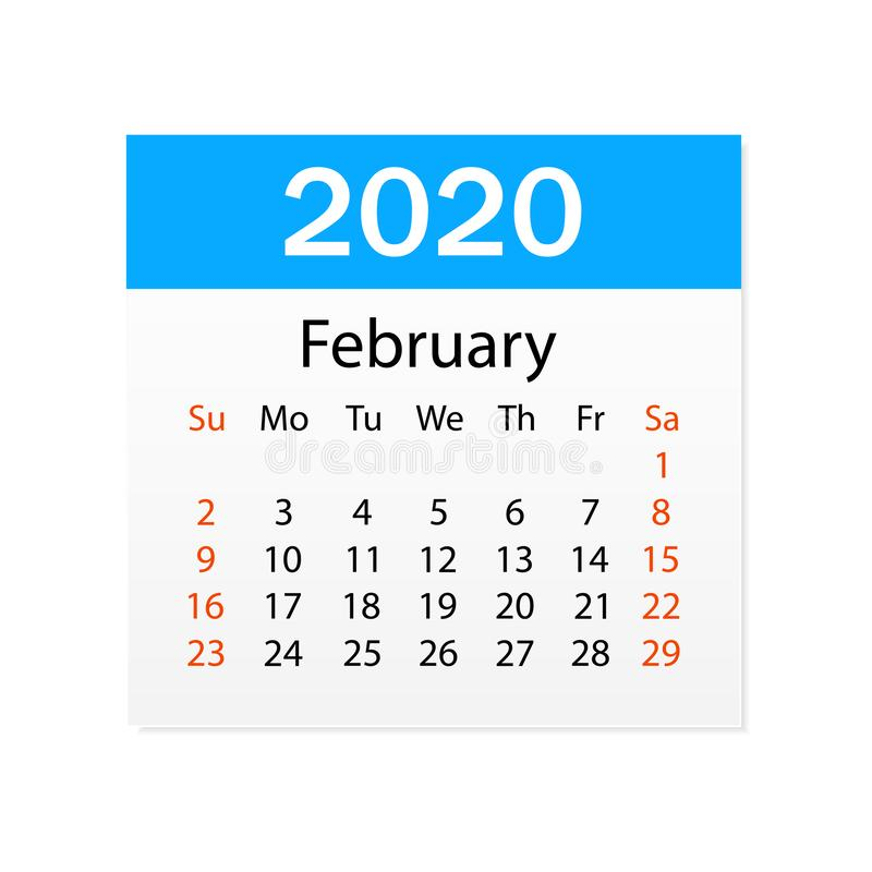 Calendar of February 2020. Personal organizer. Tear-off calendar. White background. Vector illustration vector illustration