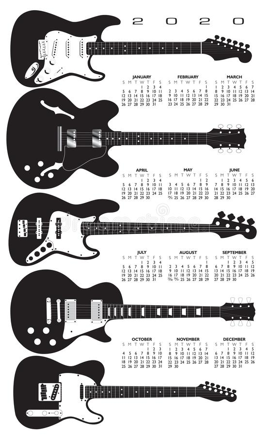 A 2020 calendar in a field of electric guitars. royalty free illustration