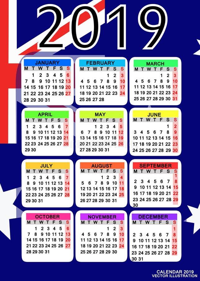 Calendar 2019 with flag of Australia. Vector. royalty free illustration