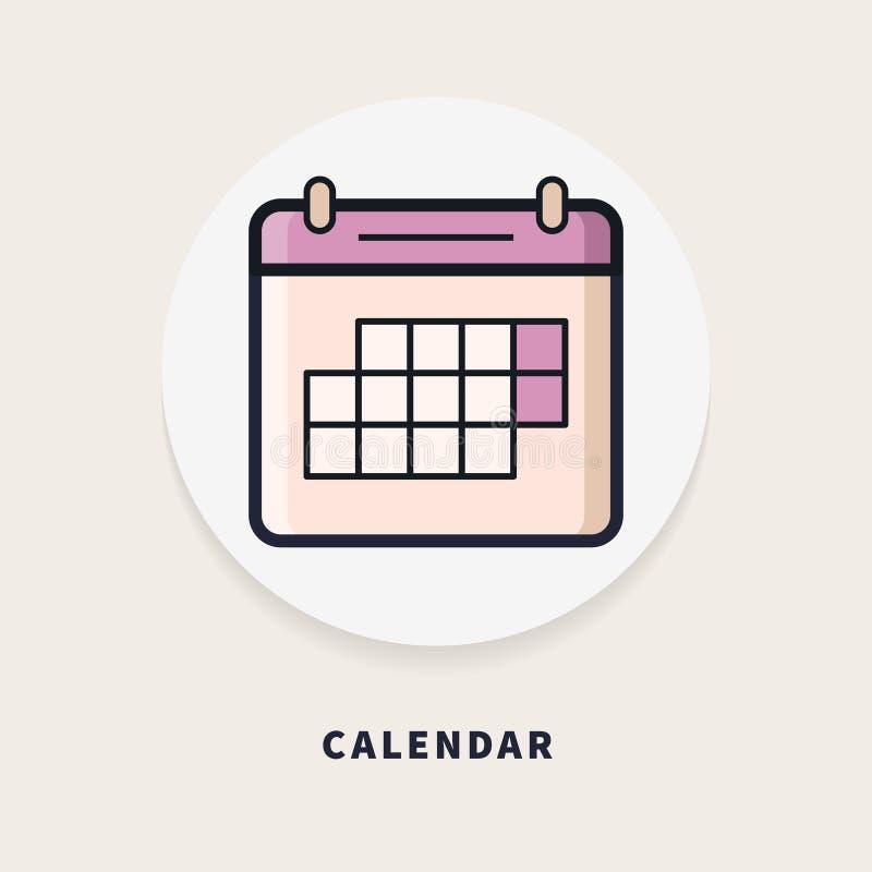 Calendar, flat design thin line banner. royalty free stock photos