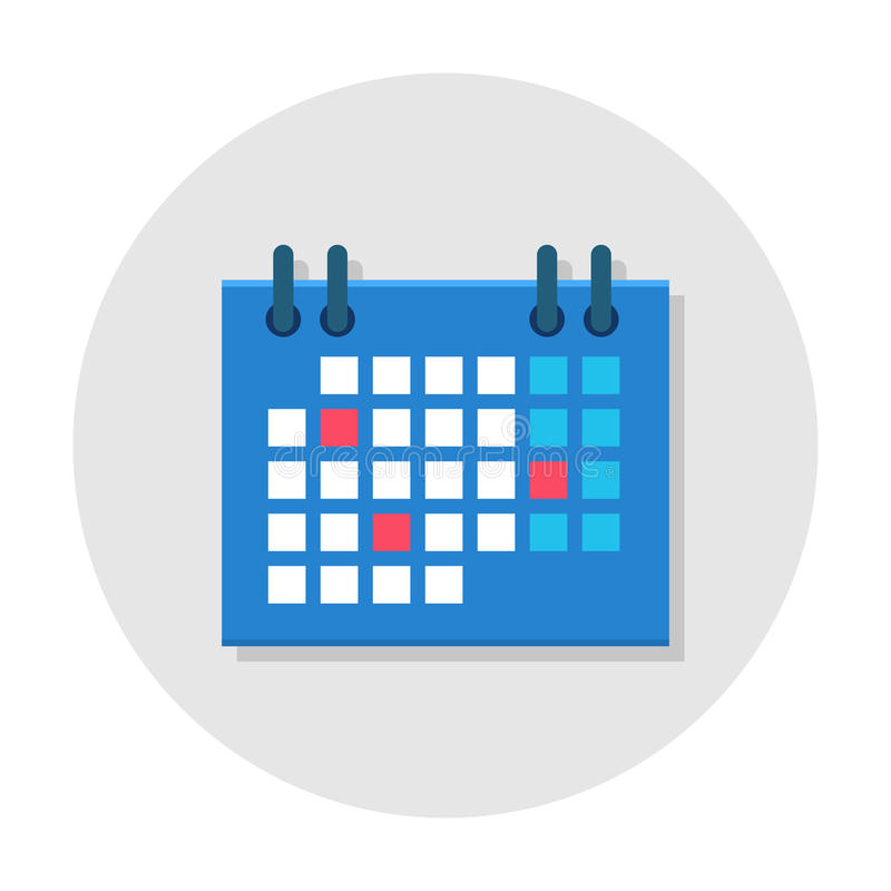Calendar flat icon. Office ring calendar planner icon, project management and schedules tool. Vector flat style cartoon illustration in rounded shape on gray stock illustration