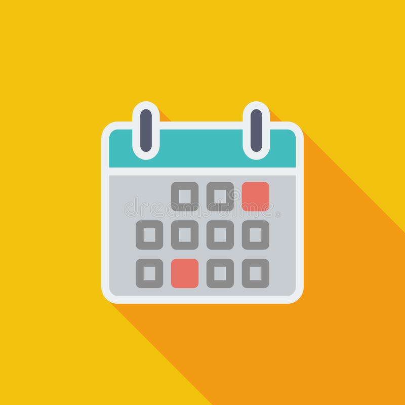 Calendar flat icon. Calendar icon. Flat vector related icon with long shadow for web and mobile applications. It can be used as - logo, pictogram, icon stock illustration