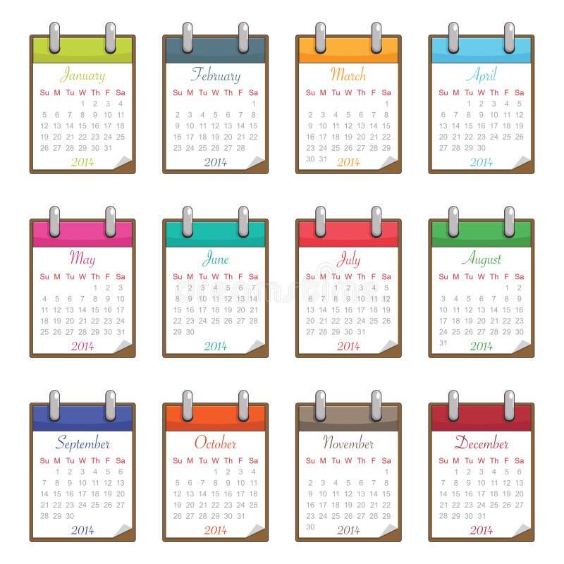 Calendar for 2014 royalty free illustration