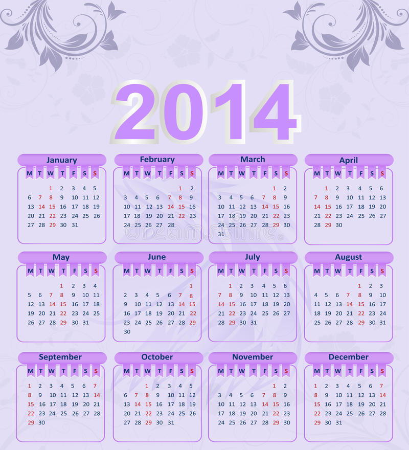 Calendar For 2014 With A Floral Pattern Royalty Free Stock Photos