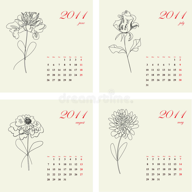 Calendar with flowers for 2011. royalty free stock image