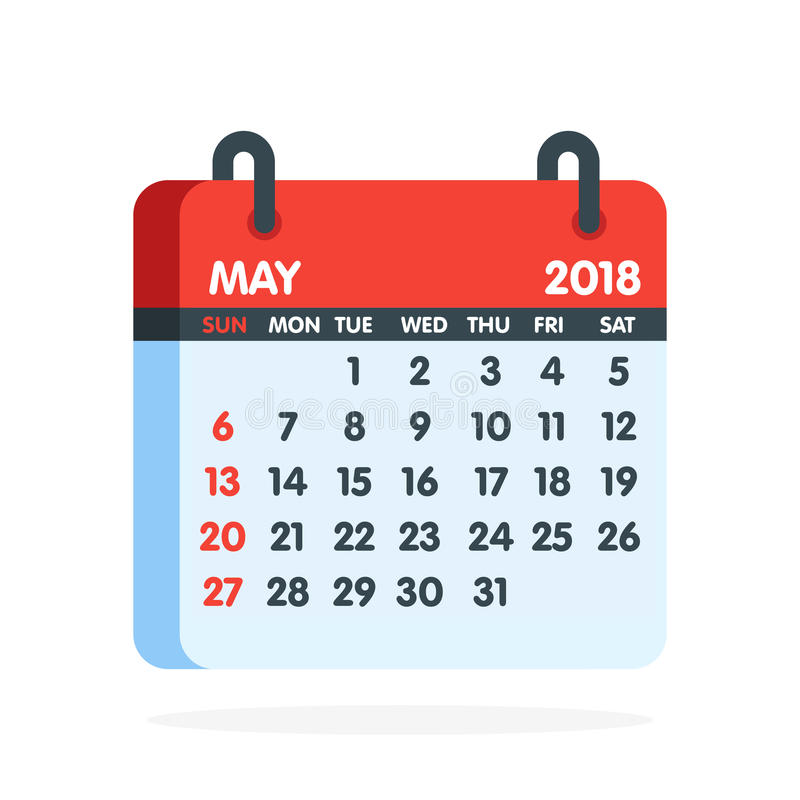 Free Calendar For 2018 Year. Full Month Of May Icon. Vector Illustration Royalty Free Stock Image - 95478256