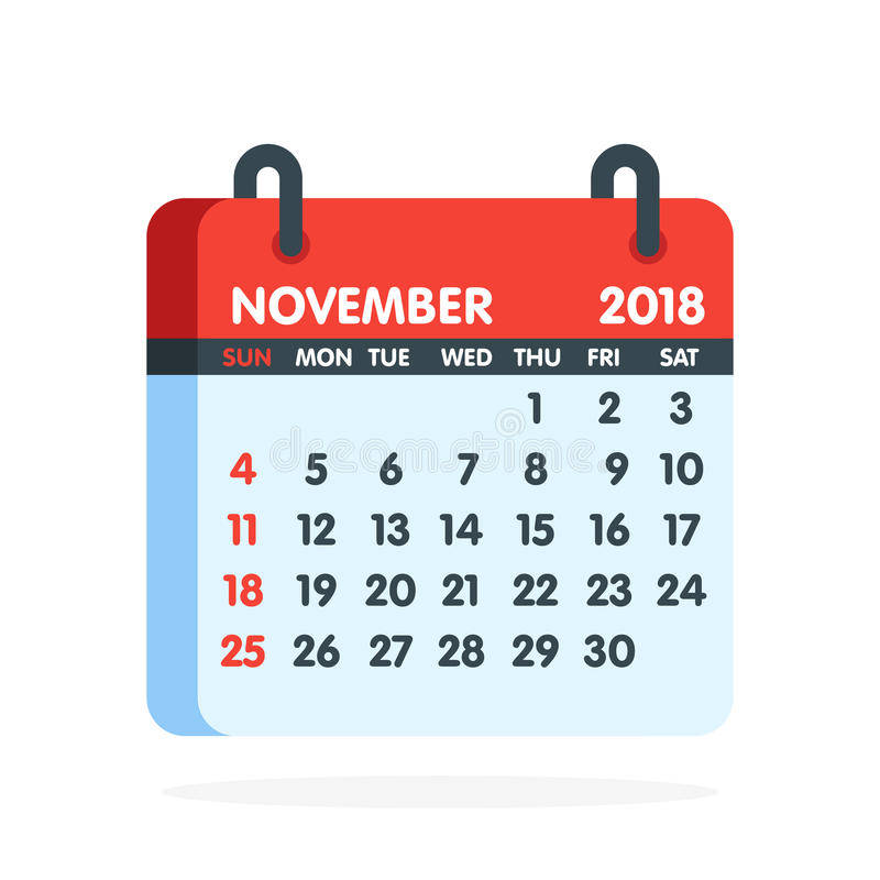 Free Calendar For 2018 Year. Full Month Of November Icon. Vector Illustration Stock Photography - 95478562