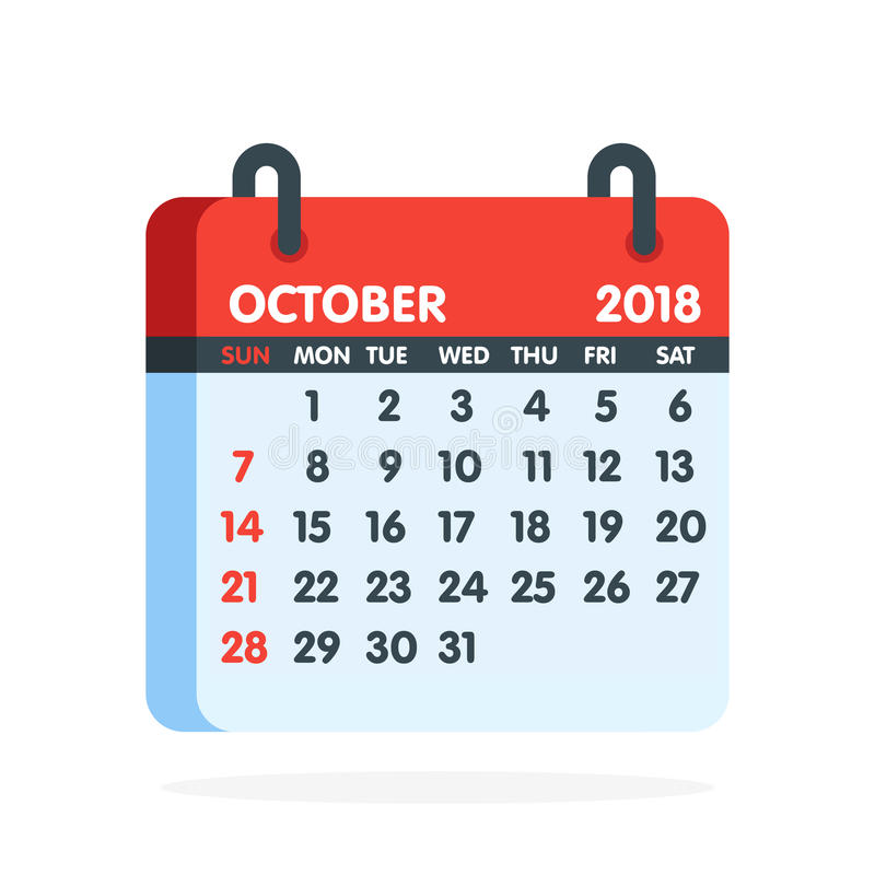 Free Calendar For 2018 Year. Full Month Of October Icon. Vector Illustration Royalty Free Stock Photos - 95478498