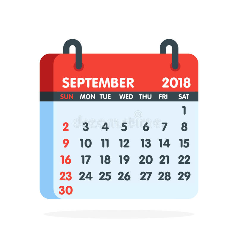Free Calendar For 2018 Year. Full Month Of September Icon. Vector Illustration Royalty Free Stock Photo - 95478565