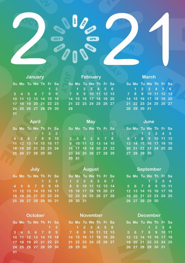 Free Calendar For 2021 Stock Images - 173897514
