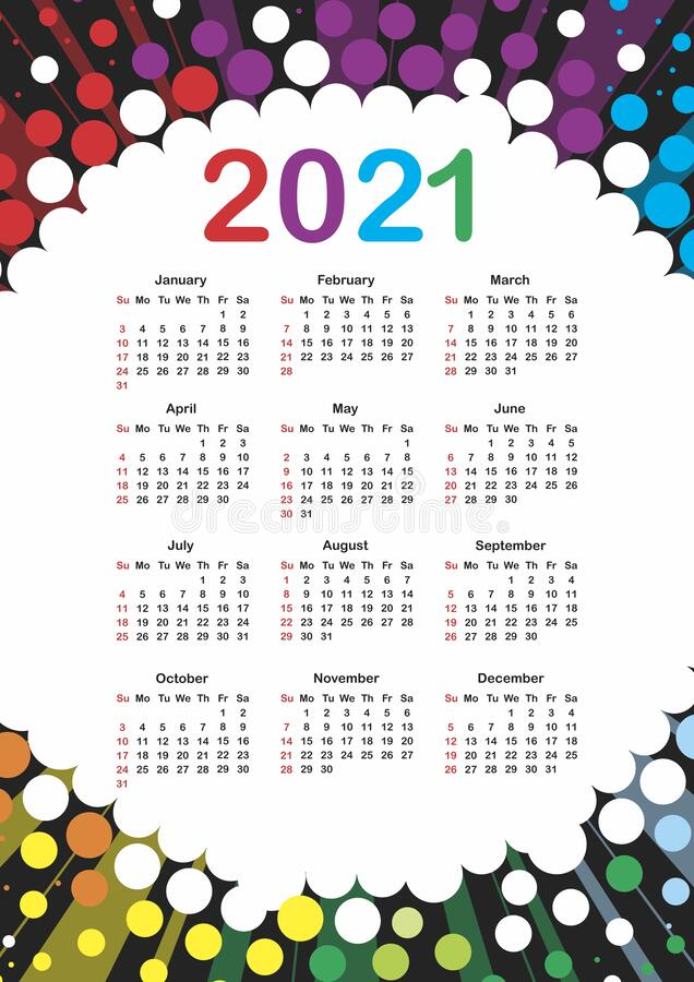Free Calendar For 2021 Stock Photography - 173901132