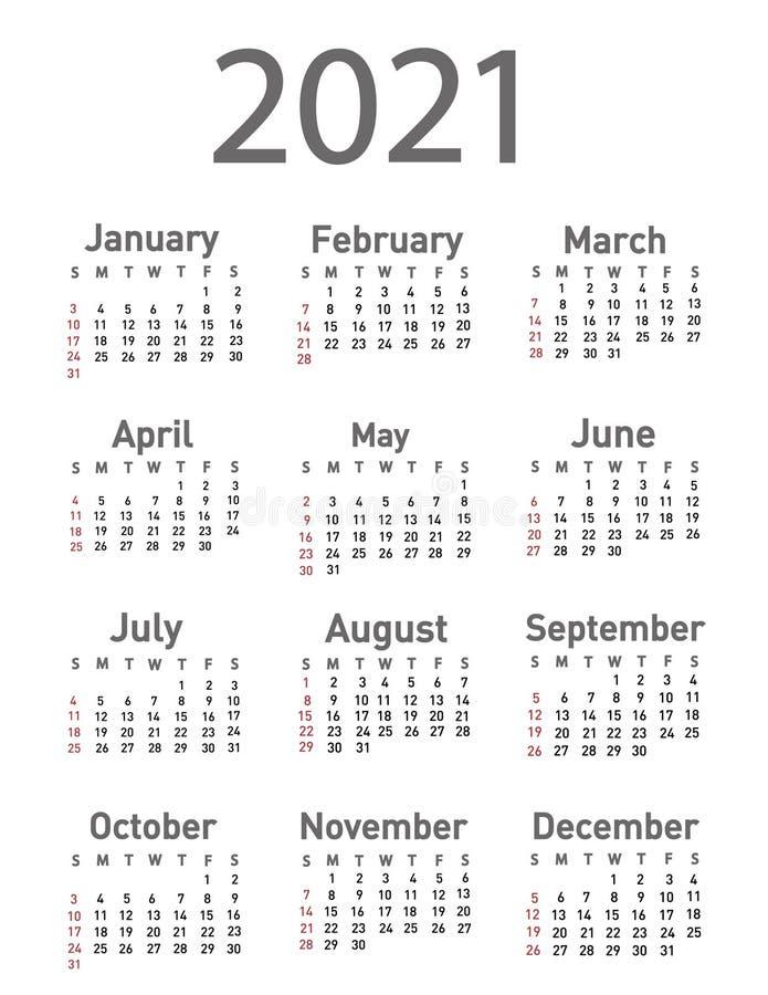 Free Calendar For 2021 Vector Stock Photography - 196817662